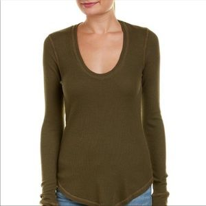 New Splendid Long Sleeves Thermal Tee Green S